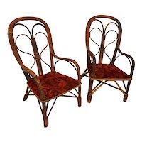 Doll Chairs Rare Pair of Antique Wicker Doll Chair  Circa 1890's Rare