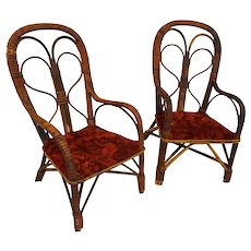 Doll Chairs Very Rare Pair of Antique Wicker Doll Chairs  Circa 1890's Rare