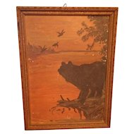 Antique Bear and Ducks Oil Painting on Board Circa 1910
