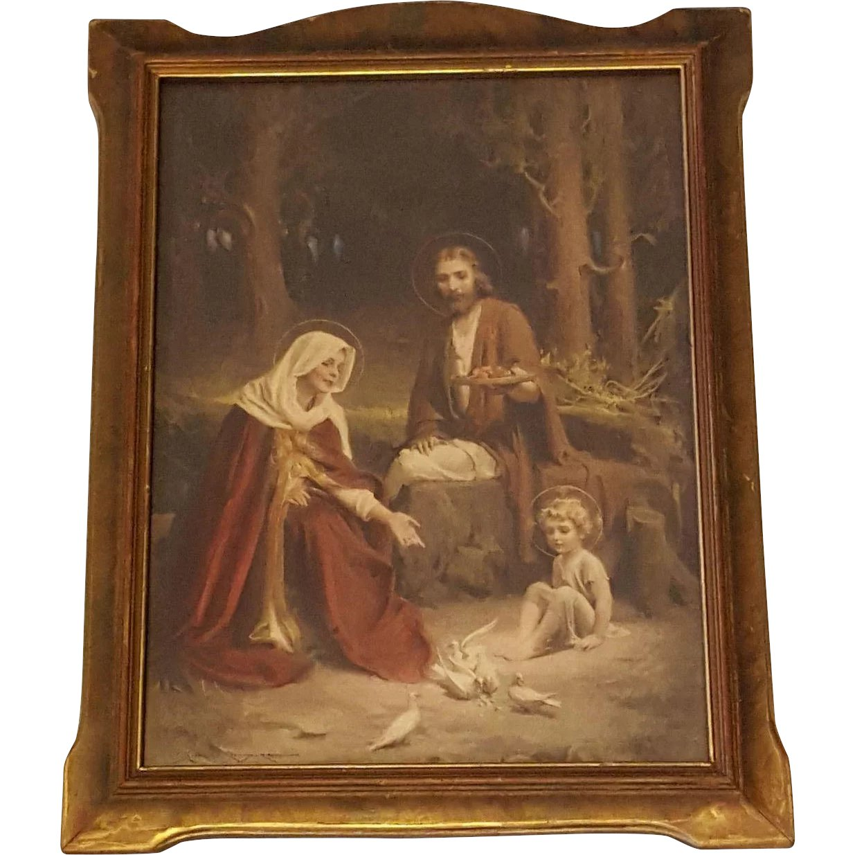 By Chambers: Holy Family Print By Charles Bosseron Chambers Circa 1920