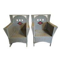 Vintage Pair Art Deco Wicker Arm Chair and Rocking Chair Circa 1920's