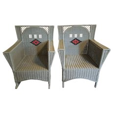 Vintage Pair Art Deco Wicker Arm Chair and Rocking Chair Circa 1920's