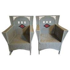 Vintage Pair Art Deco Wicker Chair and Rocker  Circa 1920's
