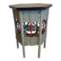 Vintage Hexagonal Art Deco Wicker Tabouret Table  Circa 1920's