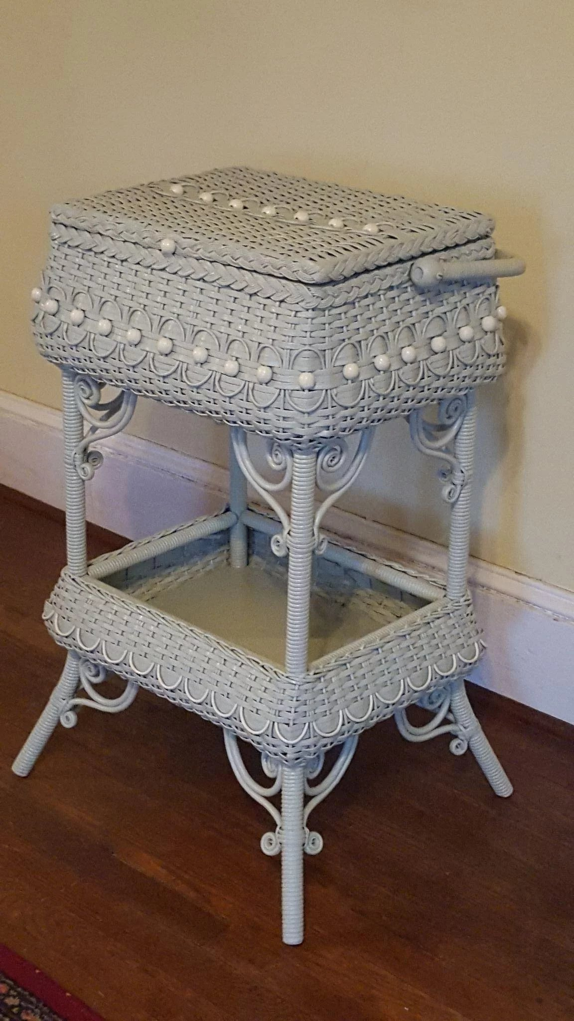 Antique Ornate Victorian Wicker Sewing Stand Circa 1890 S