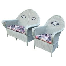 Antique Wicker Settee and Arm Chair Circa 1920's