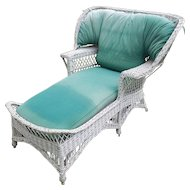 Very Rare Vintage Bar Harbor Wicker Wing Back Chaise Lounge Circa 1920's