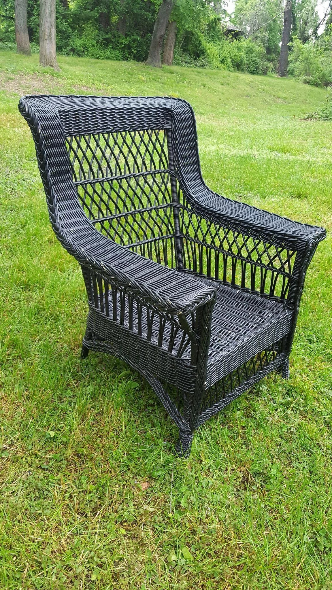 Large Vintage Bar Harbor Wicker Arm Chair Circa 1920 S