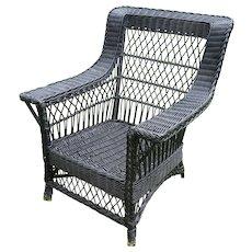 Large Vintage Bar Harbor Wicker Arm Chair Circa 1920's