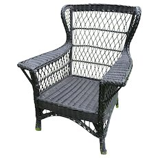 Antique Wicker Chair Circa 1910 Large Bar Harbor Wing Back