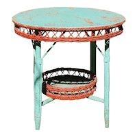Vintage Round Bar Harbor Wicker Table Circa 1920's