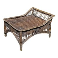 Antique Wicker Ottoman Footstool Circa 1920 Bar Harbor Natural