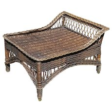Vintage Bar Harbor Natural Wicker Ottoman Footstool Circa 1920's