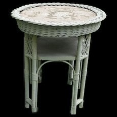 Vintage Round Wicker Table Circa 1920'