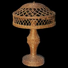 Vintage Natural Wicker Table Lamp Circa 1920's