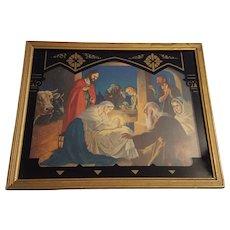 Vintage Religious Print Nativity Scene Circa 1930's