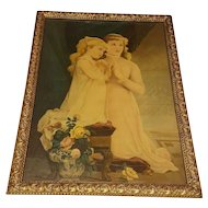 Large Antique Lithograph Sisters Praying  Circa 1900