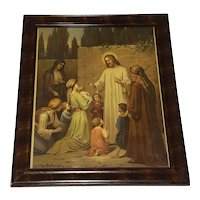 Large Antique Lithograph Christ Blessing the Children  by Josef Mathausar Circa 1900
