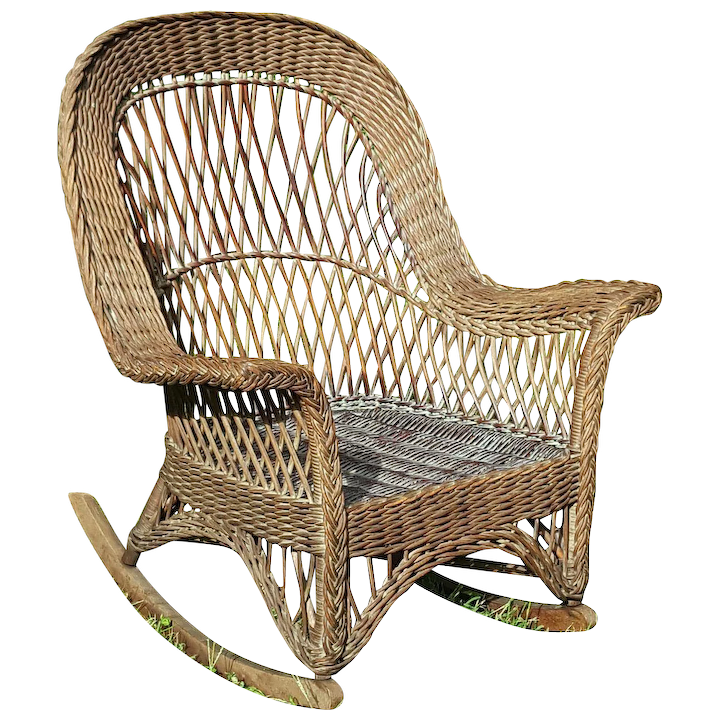 Astounding Vintage Natural Bar Harbor Wicker Rocker Circa 1920S Spiritservingveterans Wood Chair Design Ideas Spiritservingveteransorg