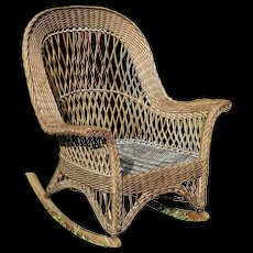 Vintage Natural Bar Harbor Wicker Rocker Circa 1920's