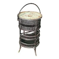 Antique Wicker Sewing Table Circa 1900