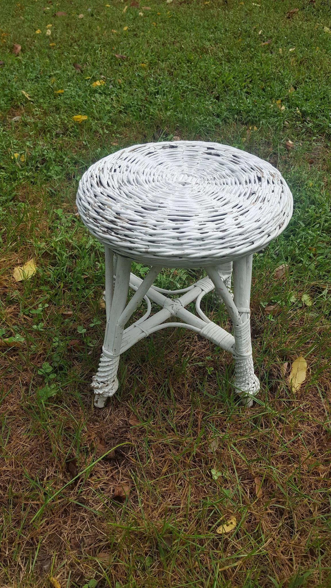 Vintage Bar Harbor Wicker Plant Stand Or Footstool Circa