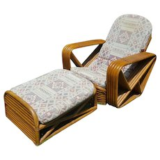 Paul Frankl Inspired Square Pretzel Stacked Rattan Matching Chair and Ottoman Circa 1930's
