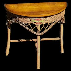 Vintage Demi-Lune Wicker Art Deco Table Circa 1920's