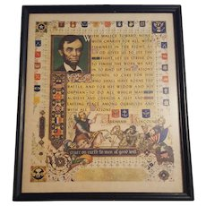 Vintage Abraham Lincoln Print Circa 1920's Excerpt from 2nd Inaugural Address