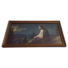 Vintage Christ on the Mount of Olives Print Circa 1920's