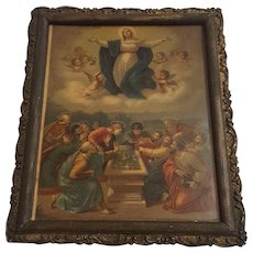 Antique Victorian Religious Lithograph Titled The Assumption of Mary Circa 1900