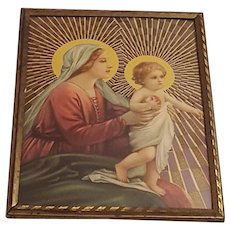 Vintage Religious Print of Mary and Infant Jesus  Circa 1940's