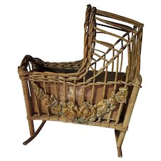 Rare Antique Wicker Cradle with Applied Floral Gesso Circa 1910