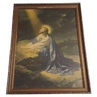 Vintage Religious Print Christ in the Garden of Gethsemane by Heinrich Hoffmann Circa 1920's