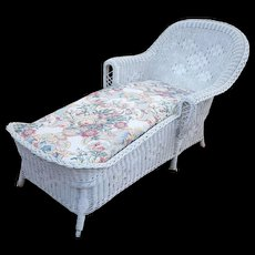 Rare Vintage Art Deco Wicker Chaise Lounge Circa 1920's