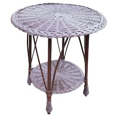 Vintage Round Bar Harbor Wicker Table Circa 1920's
