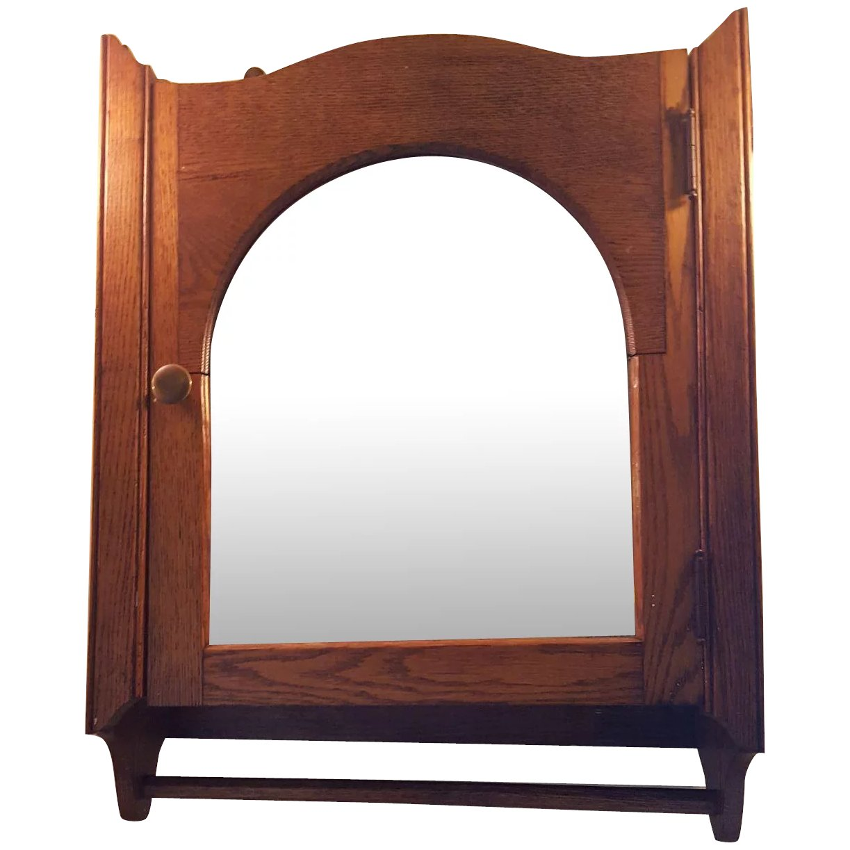 Shapely Antique Oak Medicine Cabinet with Beveled Mirror Circa 1900. Click  to expand - Shapely Antique Oak Medicine Cabinet With Beveled Mirror Circa 1900