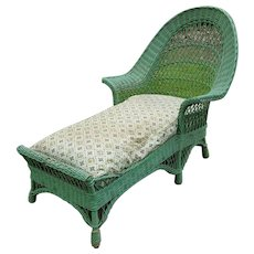 Bar Harbor Wicker Chaise Lounge Circa 1920's