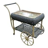 Wicker Tea Cart Vintage 1920's Heywood Wakefield
