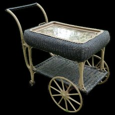 Vintage 1920's Wicker Tea Cart