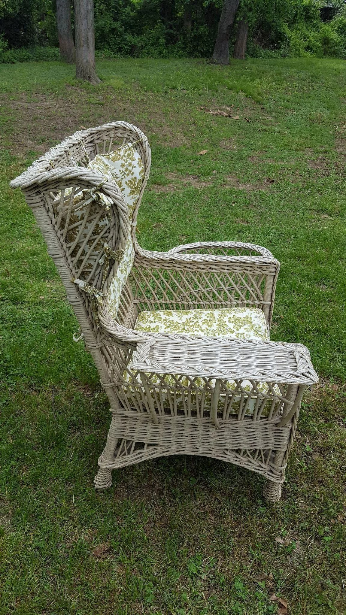 Vintage Bar Harbor Wicker Wing Chair With Magazine Pocket