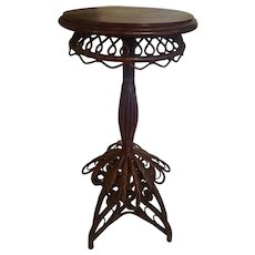 Very Rare and Ornate Natural Victorian Wicker Table Circa 1880's