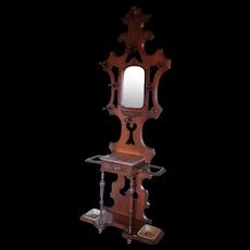 American Antique Victorian Walnut Hall Stand with Brown Marble Circa 1870's