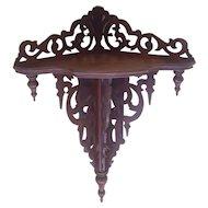 Large Antique Victorian Walnut Hanging Corner Shelf Circa 1870's