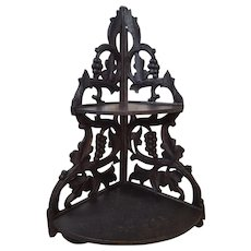 Antique Ornate Victorian Hanging Corner Shelf Circa 1870's