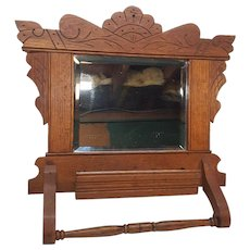 Antique Oak Shaving Mirror Comb Box Towel Bar Circa 1900