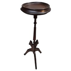 Antique Walnut Victorian Butterfly Motif Candlestand Circa 1880's