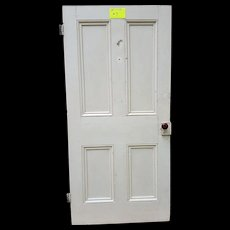 Antique Wooden Door with Raised Panels and Original Door Knob and Hinges