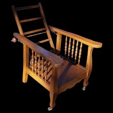 Antique Oak Child's Morris Chair Circa 1910