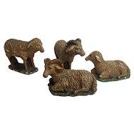 Four Large Antique German Plaster Sheep
